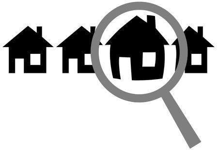 Een vergrootglas vaststelt, kiest of inspecteert een huis in een rij huizen: search & kiezen website, of voor het huis wonen, vastgoed investeringen, inspectie.