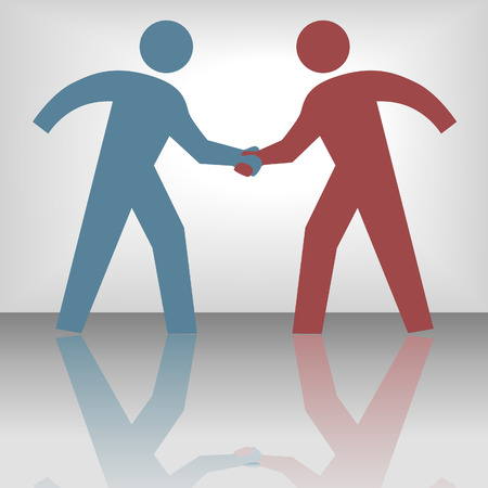 cooperate: People join in handshake & agree to a cooperate in a business or other deal as a team.