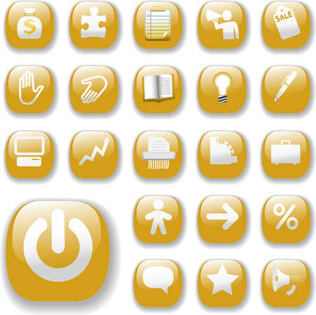 Shiny Gold Control Button Icons, internet website navigation symbols:  bag, puzzle piece, megaphone, people, bullhorn, price tag, power on, briefcase... Vector
