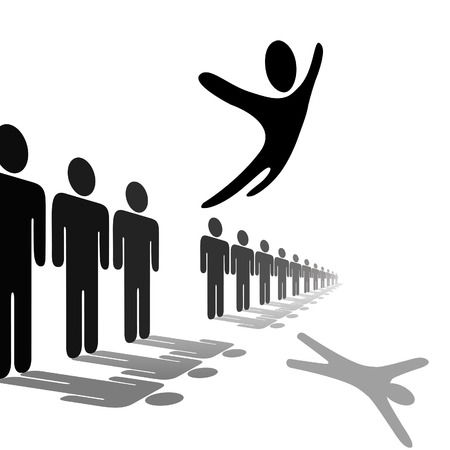 individualism: A symbol person out from the crowd and flies above a line of people. Jump for joy, escape, or celebration.