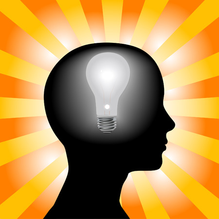 invention: A light bulb shines in the head of a thinking woman, concept of a bright idea, invention, inspiration, mind.
