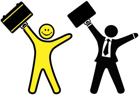 Un rostro sonriente y feliz hombre de negocios en un traje y corbata plantear maletines para celebrar el éxito.