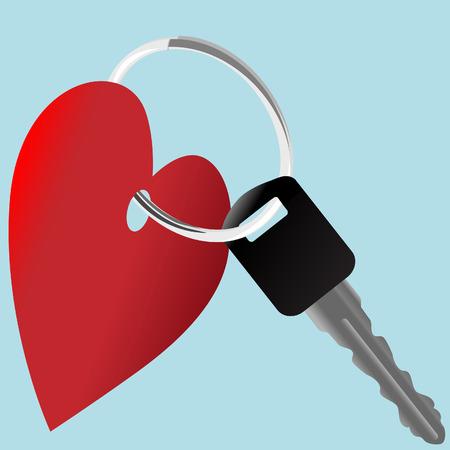 Love the Car: a set of heart symbol and auto key on a shiny key ring. Vector