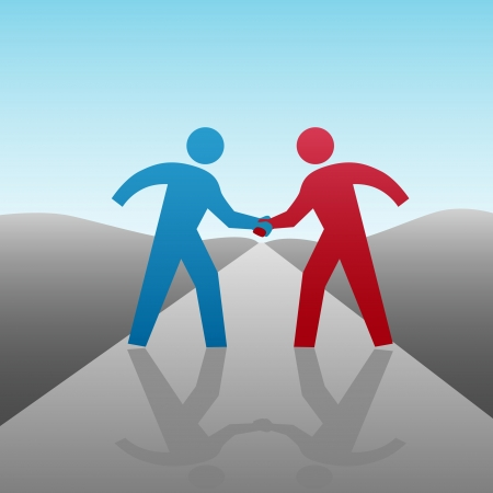 cooperate: People join in a handshake & agree to progress together & cooperate in a  or other deal as a team.