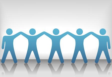 Een team of groep van vijf mensen met handen verhoogd vieren samenwerking, teamwork, overwinning, winnen, enz.