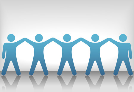 A team or group of five people with hands raised celebrate cooperation, teamwork, victory, winning, etc. Vectores