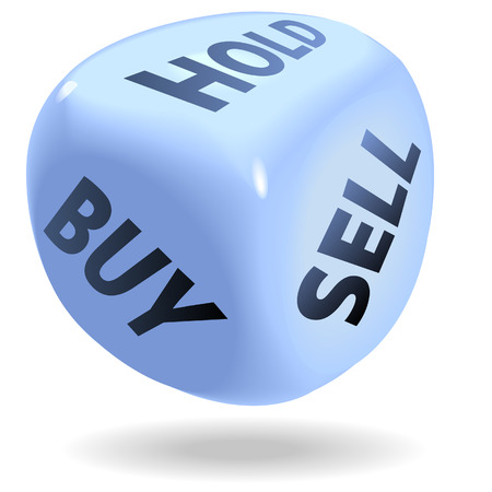 Blue dice symbol of securities trading, stock market rolls BUY, SELL, or HOLD.