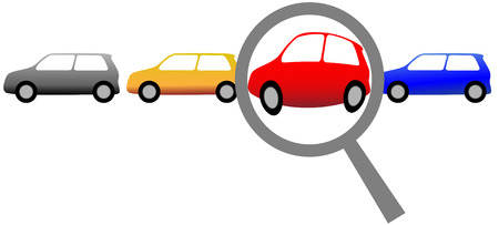 A magnifying glass finds, selects or inspects a car in a row of autos: search & shop for new or used cars. Vector