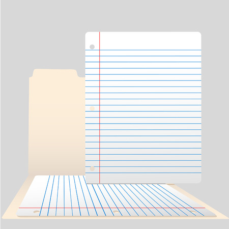 Pages of ruled notebook paper in an open file folder. Vector