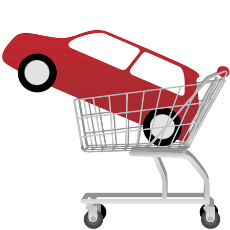 Car Buying: a big red automobile inside a shopping cart, on white. Stock Vector - 3517736