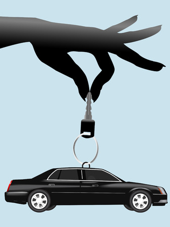 keyring: A female hand dangles an auto key and a black car on a keyring. Illustration