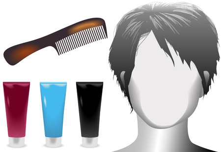 Salon styling set: A mannequin with brunette hairstyle, hair care products, tortoise shell comb. Illustration