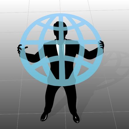 vista desde arriba: Global Business: una silueta empresario sostiene un globo trasl�cido, en una vista desde arriba.