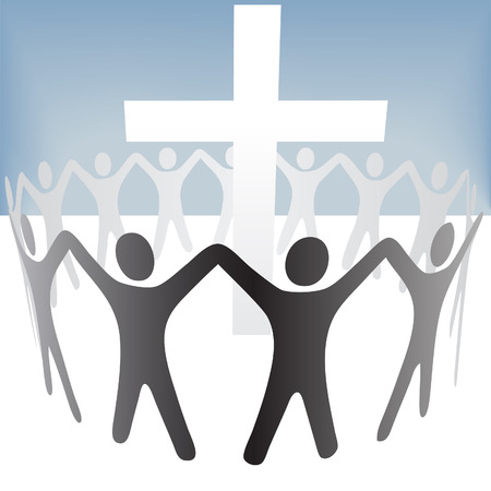 around: A group of  circle around a cross, hold up their hands.