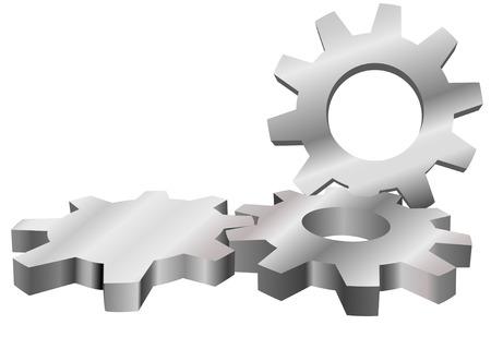 Drei glänzend Maschine Zahnräder mesh eine industrielle Technologie-Background with Copyspace zu bilden.  Standard-Bild - 3521027