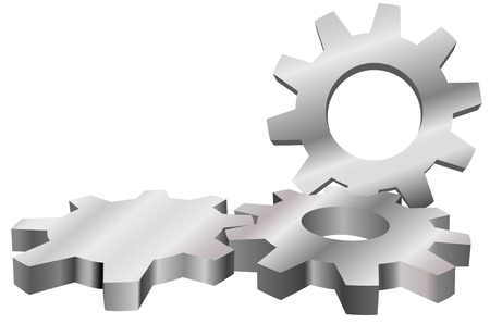Three shiny machine gears mesh to form an industrial technology background with copyspace. Stock Illustratie
