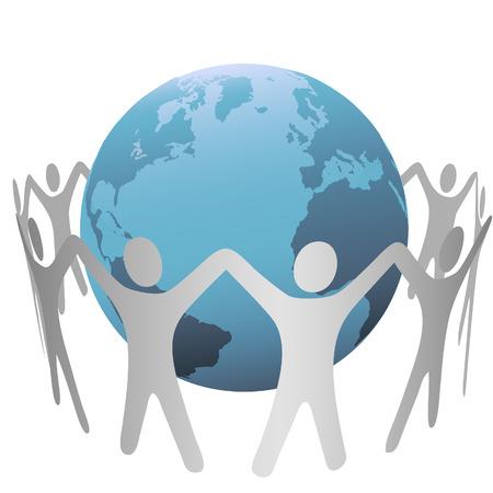 사람들의 그룹 행성 지구의 세계를 원, 체인을 형성, 그들의 손을 잡아. 일러스트