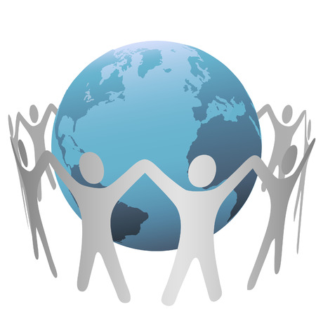A group of people circle around a globe of planet Earth, form a chain, hold up their hands. Stock Vector - 3546402
