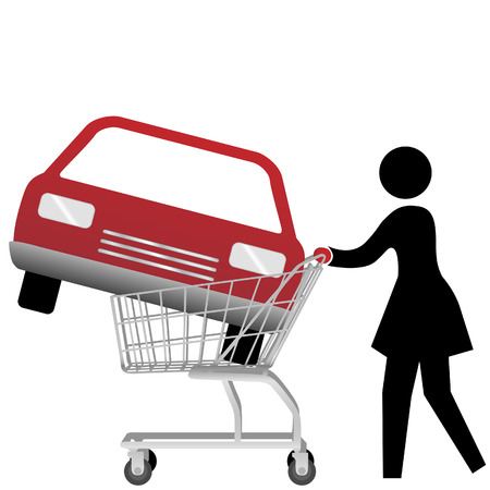 car side view: A woman car shopper buying a red auto inside a shopping cart. Illustration