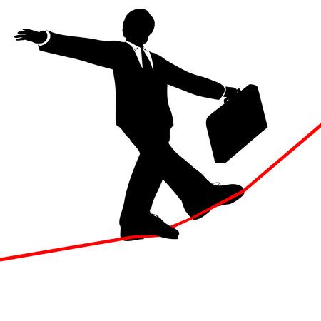 tightrope: Een zakenman saldi met een aktetas, wandelingen een hoge draad gespannen koord, boven de risico's en gevaar, uitzicht vanuit hieronder.