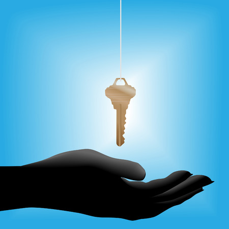 hand held: A glowing shiny brass house key on a string drops into a cupped open hand held out, symbolic of a real estate sale. Illustration
