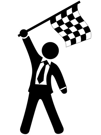 A champion business man waves a checkered flag to celebrate winning a victory. Vector