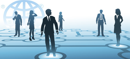 A group of business people silhouettes connect on a blue communications node network, with globe background. Illustration