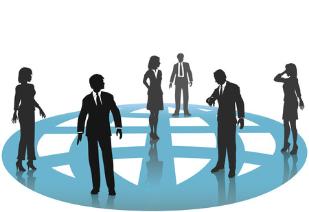 A group of silhouette business people - man and women - connect on a blue globe.