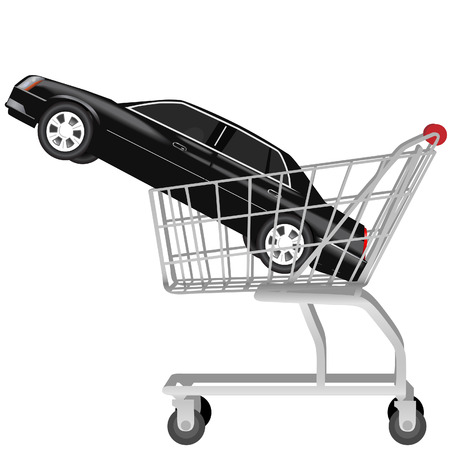 Car Buying: a black used or new auto inside a shopping cart. Proceed to checkout. Vector