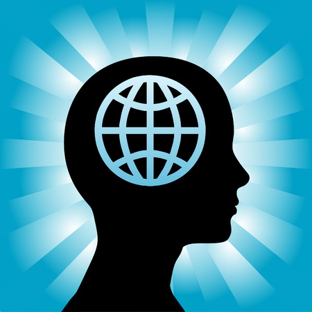 A globe in the head of a silhouette woman as she thinks globally. Vector