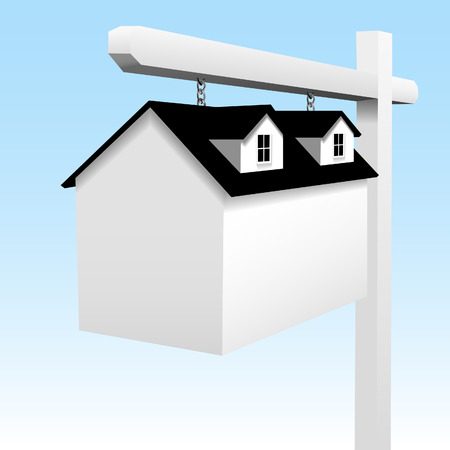 dormer: A house is a real estate Home yard sign in this illustration. Also looks good on plain white.