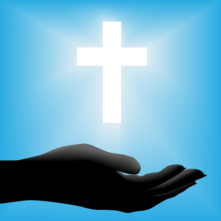 held: A cupped silhouette hand is held out beneath radiant glowing white cross on a blue background. Illustration