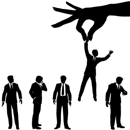 choose person: A female hand to find, select, choose, pick a business man to dangle above a line of business people. Illustration