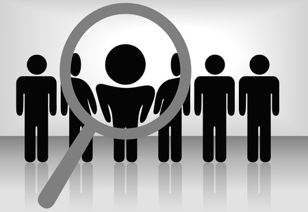 finds: A magnifying glass finds, selects or inspects a person in a line of people: search & choose for employment, recognition, promotion, hire, etc. Illustration