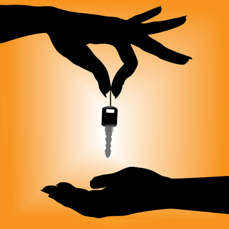 A silhouette female hand holds an auto key over a cupped hand against an orange background. Vector