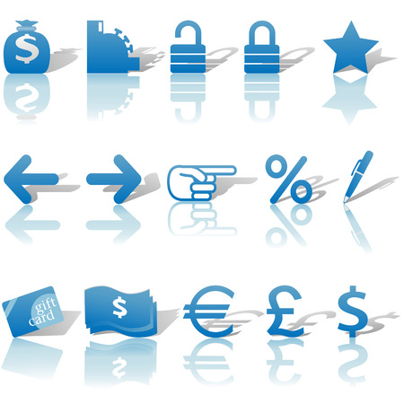 A set of Finance, Money, and Website Navigation icons for internet business and communications, with reflections and shadows.