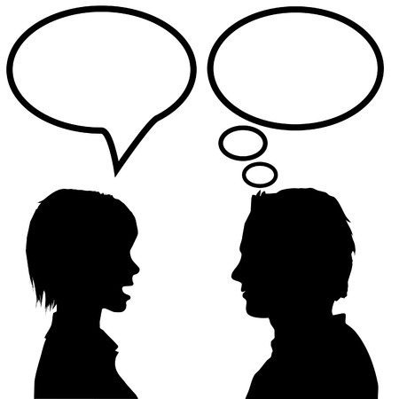she: She says he listens. A couple discuss as the woman talks in a speech bubble and the man listens and thinks in a thought bubble.