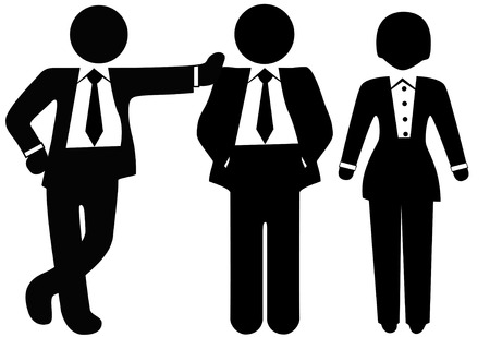 A team of 3 business people in suits, a group of a woman and two men.