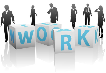 work: A team of business people, men and women, with cubes or blocks spelling TEAM WORK on a plain white background.