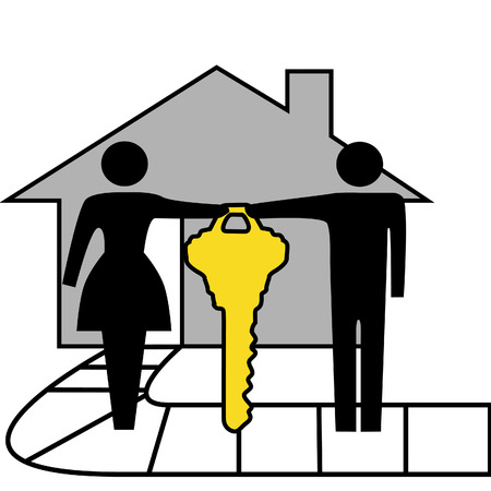 A couple hold a gold house key to family home. Vector