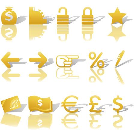 大蔵省では、ゴールドのセット、およびインター ネット ビジネスと反射と影との通信のウェブサイトのナビゲーション アイコン。