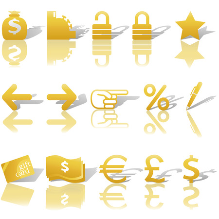 A gold set of Finance, , and Website Navigation icons for internet business and communications, with reflections and shadows.  Vector
