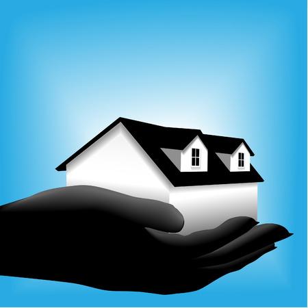 Een symbool huis home is in een sihouette cupped hand tegen een gloeiende blauwe achtergrond.