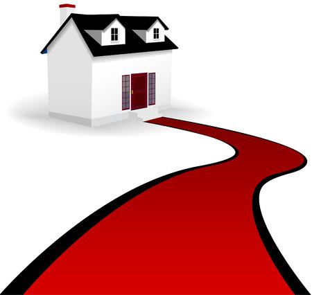 Een huis met twee dormer vensters en een slingerende rode loper oprit de stappen van het Huis. Op wit.