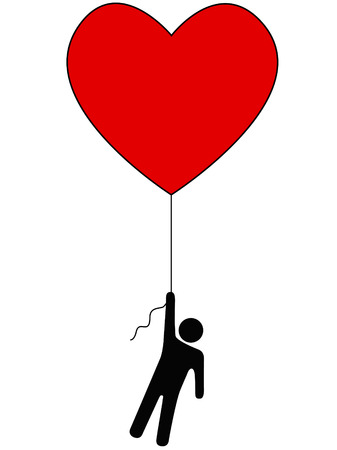 aloft: Love Lifts Us Up: a red heart balloon and person symbol on a string.