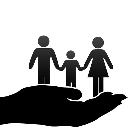 A family of mother, father, child symbols are held in a cupped hand. Vector