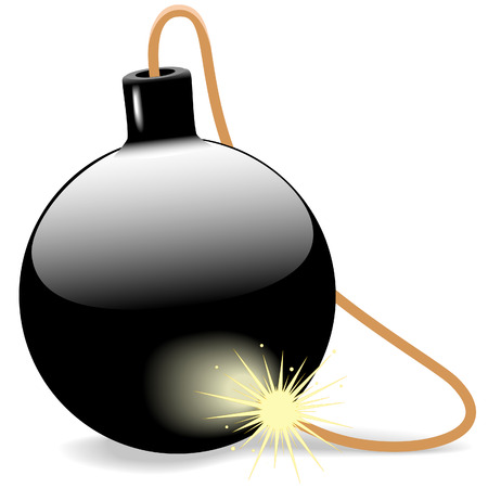 shiny black: Need an shiny black ball bomb with a burning fuse on white? This babys ready to explode. Illustration