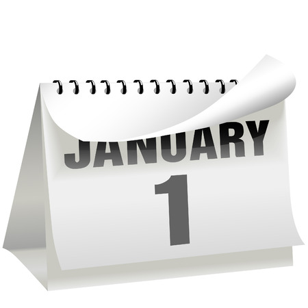A New Year's Day calendar turns a page to change the year, month, and day to January 1 and begin a new year. Vectores