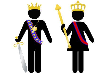 Symbool mensen koninklijke koning en koningin met kronen, Scepter, zwaard. De klant is koning of koningin.
