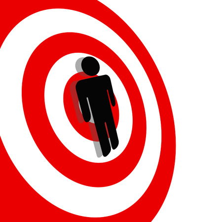 International symbol for a Targeted Person. A Symbol Man on a Red Target Bullseye.